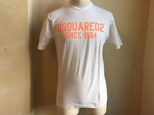DSQUARED-CLASSIC-CRISP-WHITE-NEON-ORANGE-SIGNATURE-LOGO-PRINT-T-SHIRT-S-L-1964