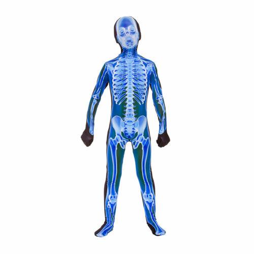 X-Ray Jumpsuit Kids Halloween Skeleton Lycra Bodysuit Fancy Dress Costume