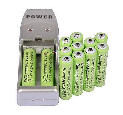 12X AAA 3A 1800mah1.2V NiMH rechargeable battery Green+USB Charger