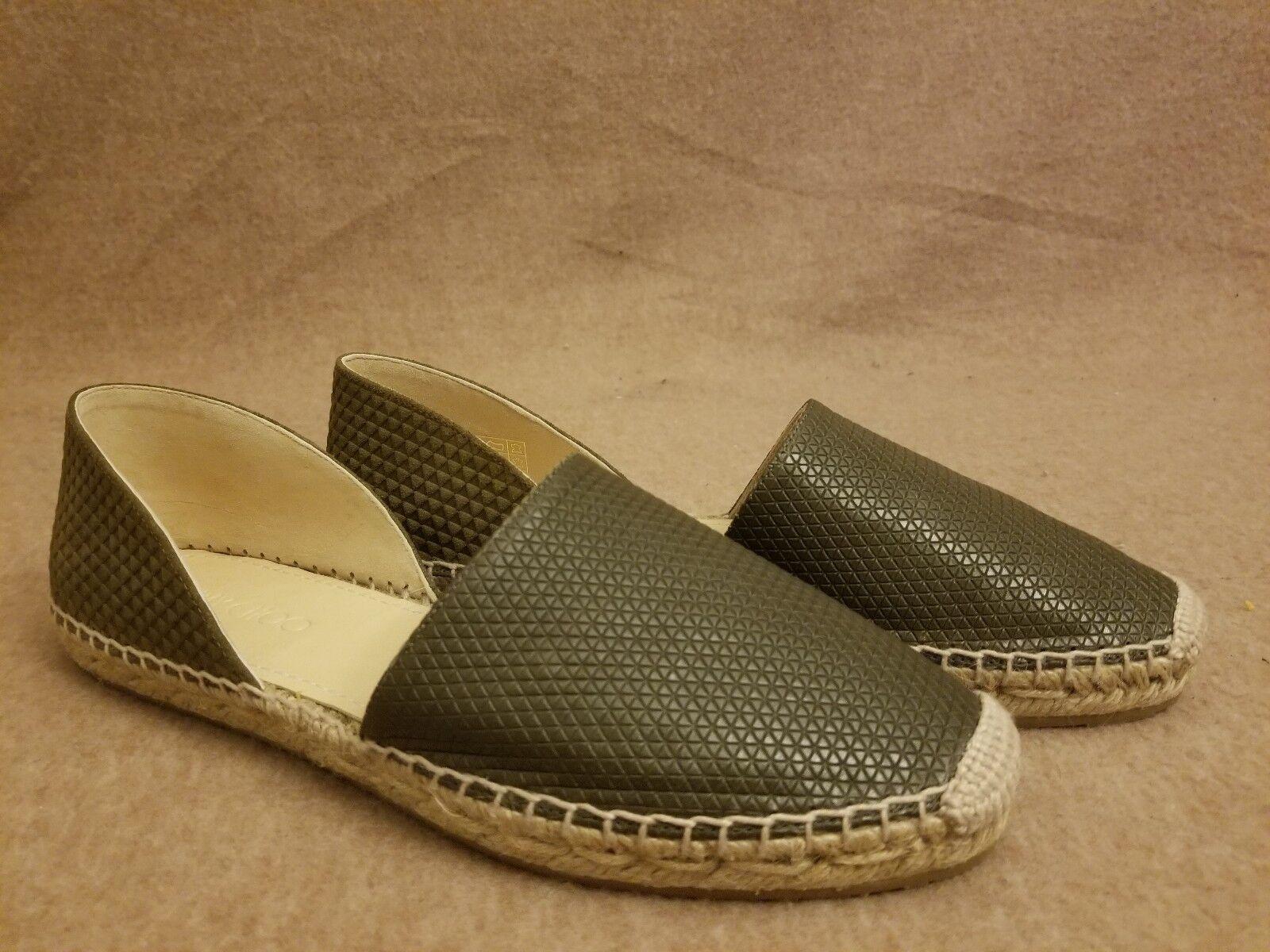 New Jimmy Choo Women Khaki D'orsay Loafers Slip On Espadrille Flat Shoes Sz 37.5