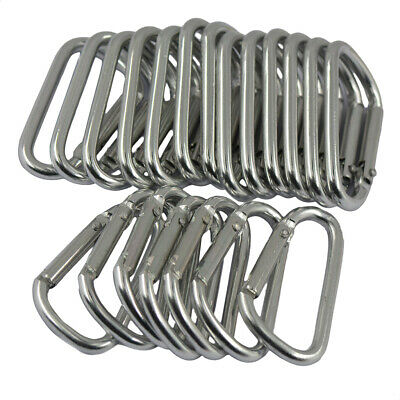 20Pcs Stainless Steel Snap Clip Carabiner Buckle Split D-Ring Spring Hook Black