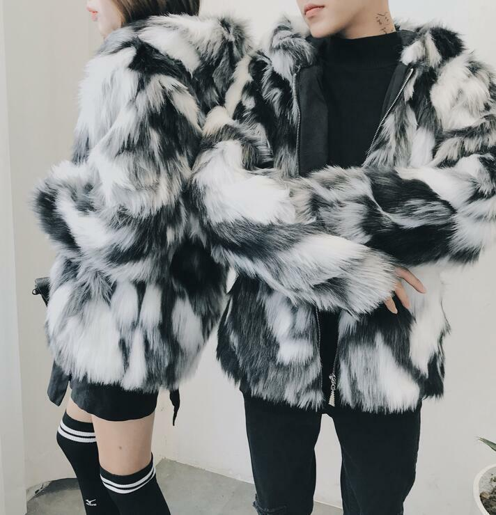 Fashion Unisex Womens Mens Mixed color Fur Hooded Parka Coats Winter Outwear New