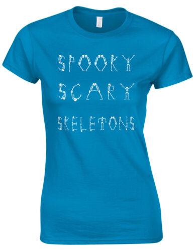 Spooky Scary Skeletons Halloween Dance Meme Ladies T Shirt Tshirt Tee Top AE84