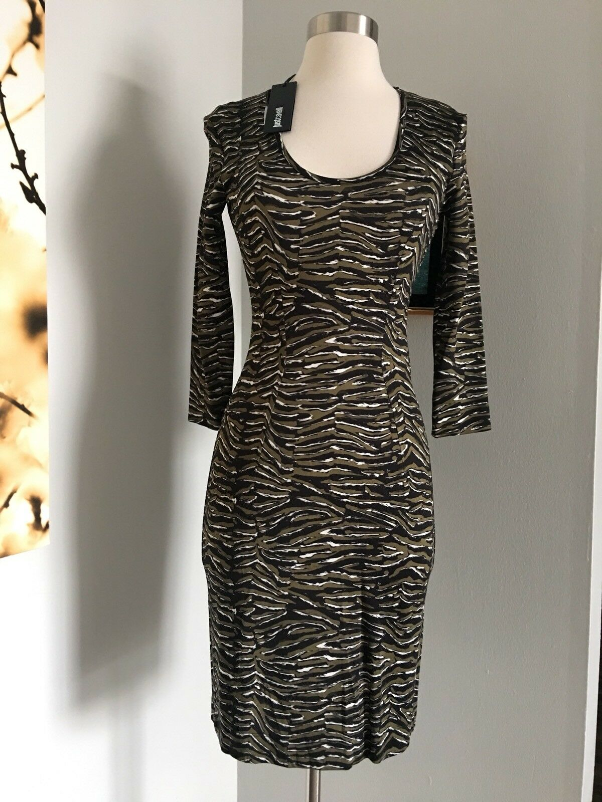 NWT JUST JUST JUST CAVALLI 3 4 SLEEVE FITTED STRETCH DRESS SIZE 40 MADE IN ITALY 09eb92