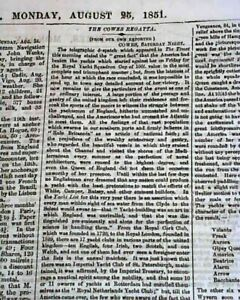 Historic-1851-1st-AMERICA-039-S-CUP-Yachting-Scooner-034-America-034-Victory-WIN-Newspaper