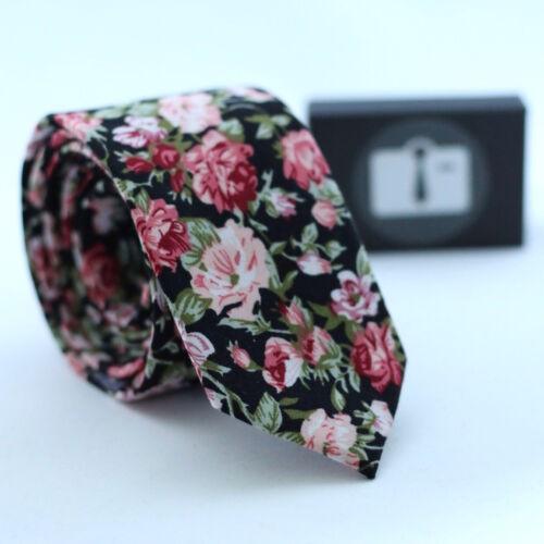 Luxury Mens Floral Cotton Tie Summer Bloom Design Pattern Necktie 7 Colours