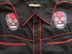 Mens rockabilly western shirt sugar skull goth Tattoo slim fit XSmall 36 chest