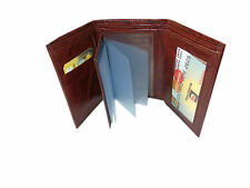 Genuine Leather Tri Fold Money Wallet Purse for Men Gents with Card Slots -Brown