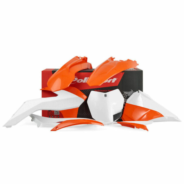 POLISPORT SET PLASTIC COMPLETE ENDURO ORANGE BIANCO KTM 250 EXC 2014-16