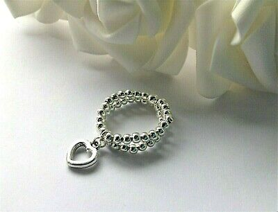SET of 2 ANGEL WING /& STAR CHARM SILVER BEAD STRETCH STRETCHY STACKING RINGS