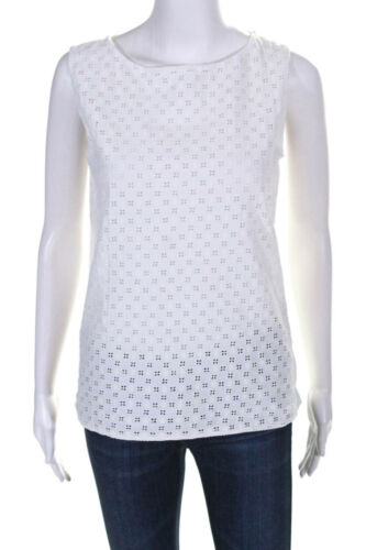 Prada Womens Cotton Eyelet Sleeveless Top White Si