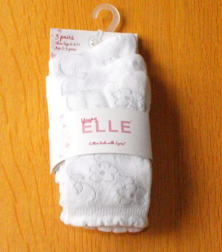 3 pair Girls//Ladies ELLE Brand Cotton Rich Socks Sizes 6-8.1//2 /& 12.1//2-3.1//2