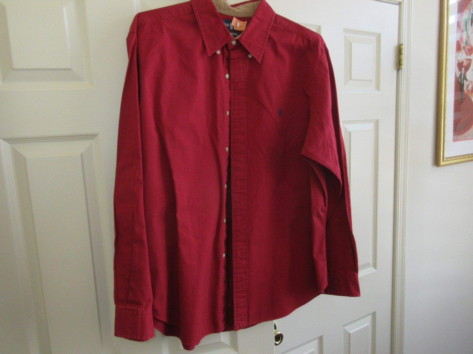 Ralph Lauren ,Classic Fit ,Long Sleeve ,Men's XL ,100 % Cotton , RED , Patches