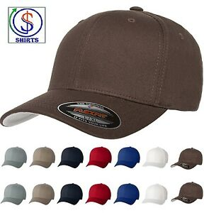 Flexfit V-Flexfit Cotton Twill Fitted Baseball Blank Plain Hat Cap ... f5f477009a6b