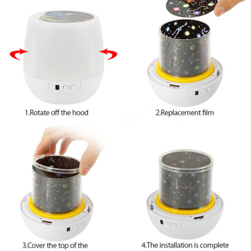 2 in 1 LED Nachtlicht für Kinder mit 9 LEDs 6 Modi und Dimmbar Projektor Lampe