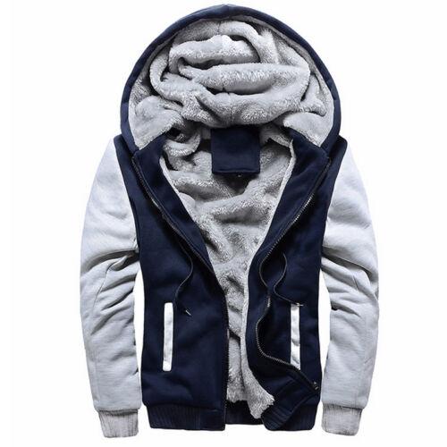Plus Size Mens Winter Warm Thick Fleece Lined Hooded Hoodie Jacket Coat Outwear