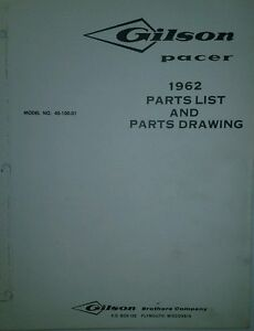 s l300 gilson pacer 40 100 01 riding mower lawn tractor 1962 parts catalog