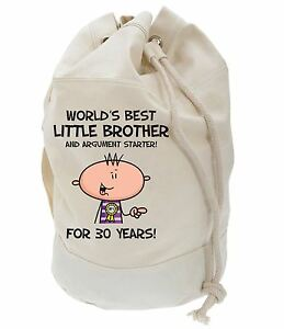 Image Is Loading Worlds Best Little Brother 30th Birthday Present Duffle
