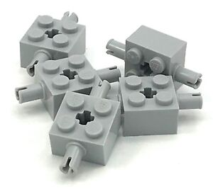 Light Bluish Gray Brick 2 x 2 w Pin//Axle Hole QTY 5 No 6232 LEGO Parts
