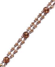 GIVENCHY Brown Gold-Tone Light Smoky Topaz Crystal Two-Row Flex Bracelet $88
