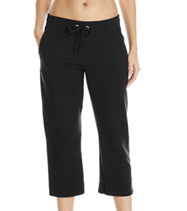 NWT Hanes Live Love Color 50//50 Fusion Soft French Terry  Capris M Black