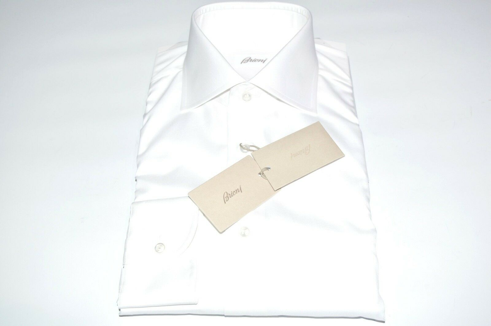 NEW  BRIONI Dress SHIRT 100% Cotton Size 17 Us 43 Eu White ( MA41)