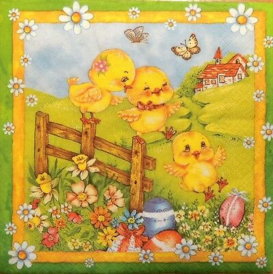 4 X PAPER NAPKINS  EASTER  EGGS  YELLOW CHICKEN  DECOUPAGE  CRAFTING   W6