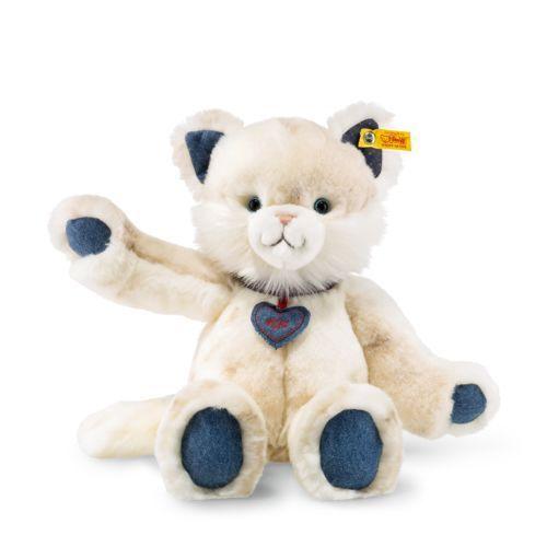STEIFF Denim Darlings Miau Cat EAN 084447 33cm White Soft toy gift New