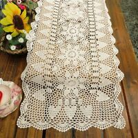 Crochet Table Runner White Vintage Hand Crocheted Lace Cotton 15 X 51