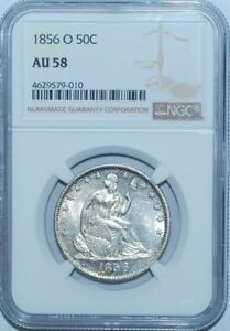 1856-O-NGC-AU58-WB-103-RPD-Repunched-Date-Seated-Liberty-Half-Dollar
