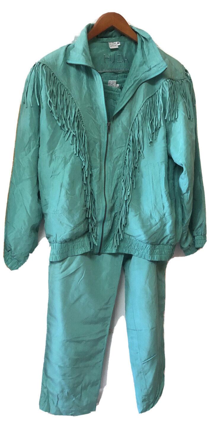 Vintage 100 % Silk FUDA INTERNATIONAL Turquoise F… - image 1