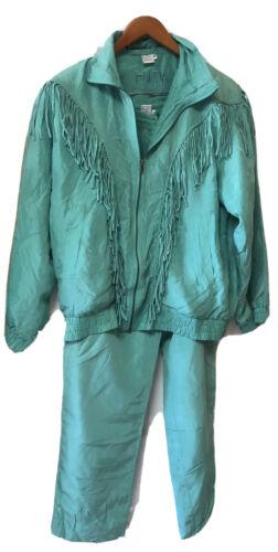 Vintage 100 % Silk FUDA INTERNATIONAL Turquoise Fr
