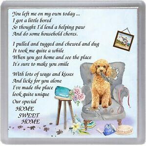 Poodle-Apricot-Dog-Coaster-034-HOME-SWEET-HOME-Poem-034-Novelty-Gift-by-Starprint