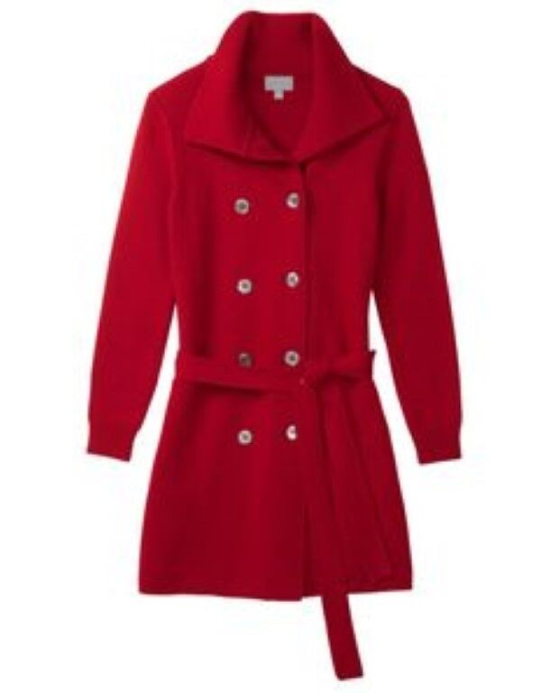 Pure Collection Italian Knit Trench Coat Red Ladies Size 18 RRP  Box45 99 A