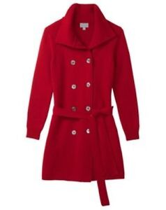 Collection Rrp 00 Red Pure Italian £299 Trench Uk A Box46 14 Knit Size 48nqdw