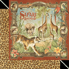 Graphic45 SAFARI ADVENTURE 12x12 Dbl-Sided (2pc) Scrapbooking Paper