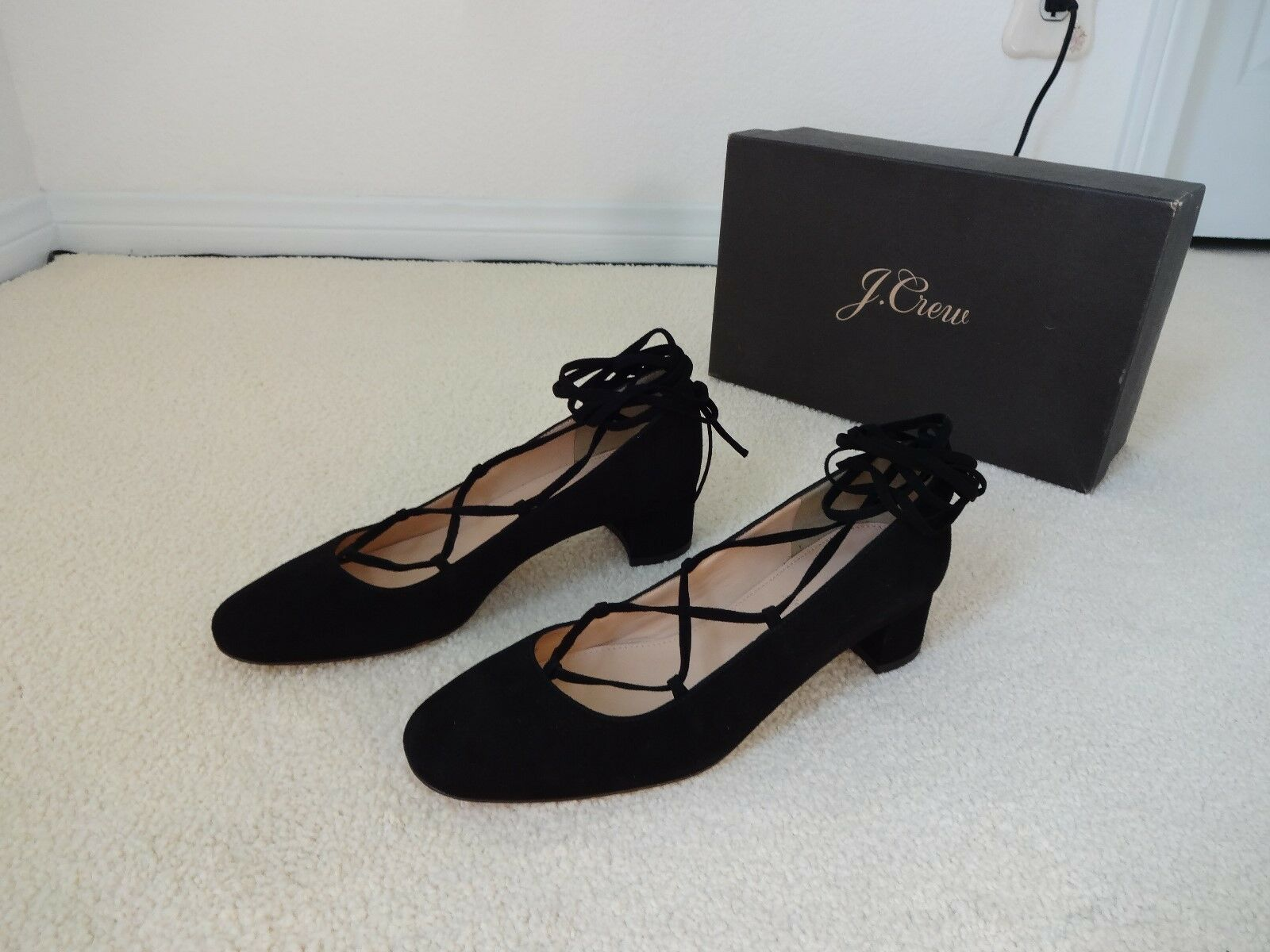 New J.Crew  Lace-up Heels in Suede F4867 Size 8M Made in