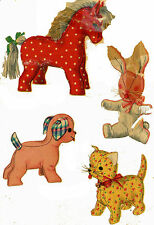 Vintage Stuffed Toy PATTERN 4915 Four Animals Horse Dog Cat Bunny Rabbit 1950s