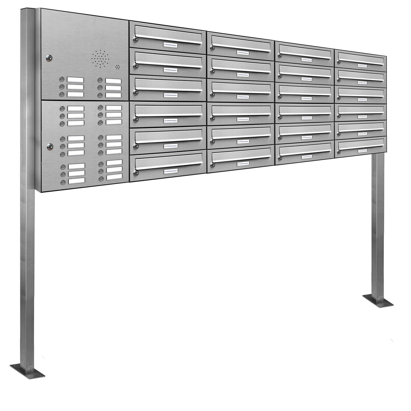24 er Premium V2A Edelstahl Stand Briefkasten Anlage Klingel Postkasten 5x6
