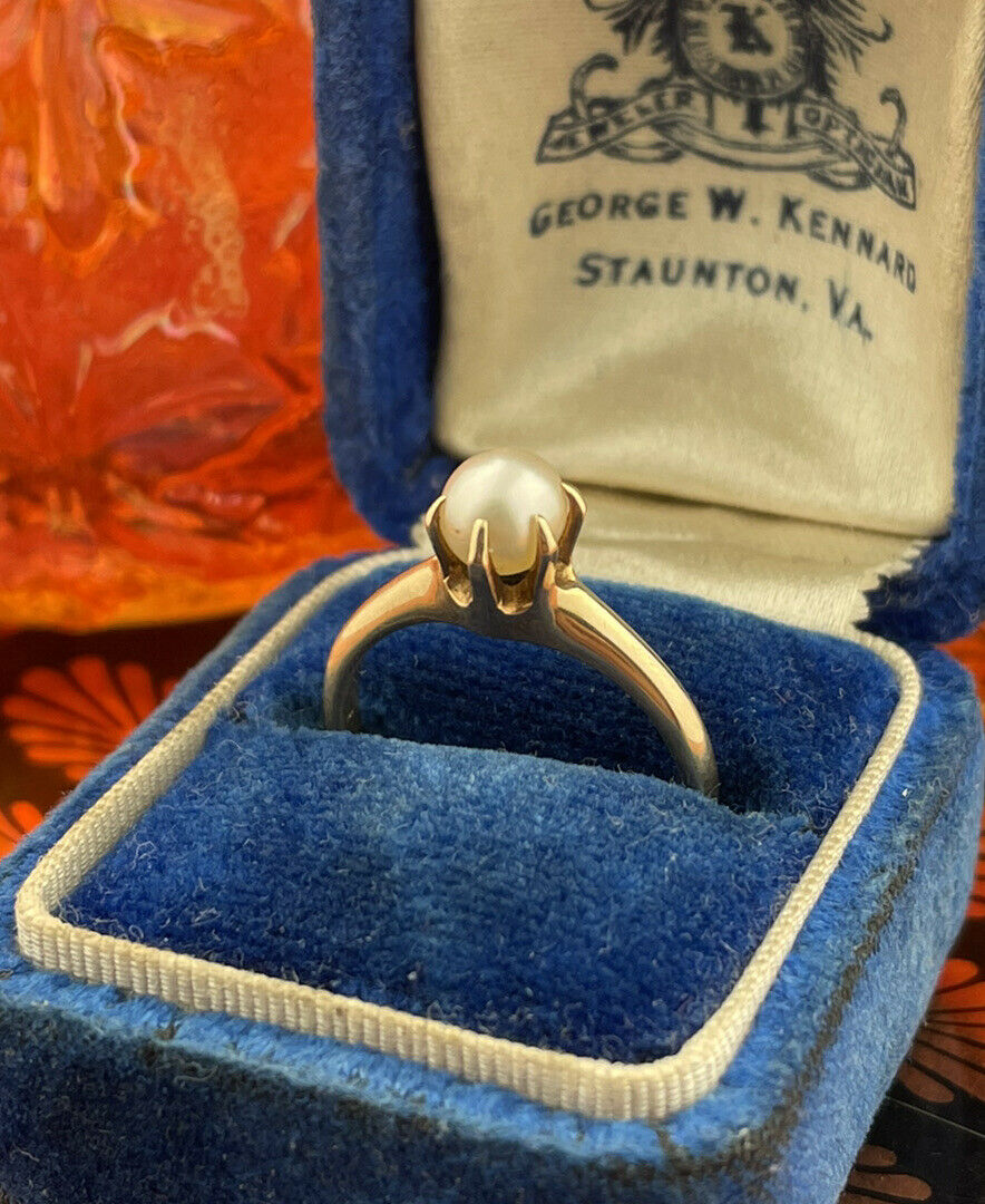 14k Solid Yellow Gold Solitaire Genuine Pearl ring - image 1