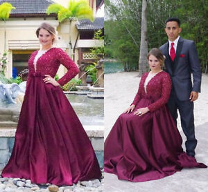 Details about Plus Size Formal Prom Dresses Party Evening Gowns Burgundy  Long Sleeves Custom