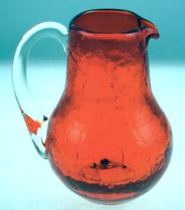 Pilgrim-Crackle-Glass-Mini-Pitcher-Orange-with-Clear-Handle-Hand-Blown-Vintage