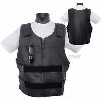 Men's Leather Bullet Proof Motorcycle Club & Biker Vest (concealed Carry )