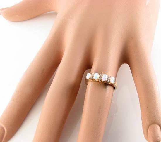 Classic 9K 9CT 9CT 9CT oro inglese AAA Opale & diamante mezzo eternità anello libero Ridimensiona fac00c