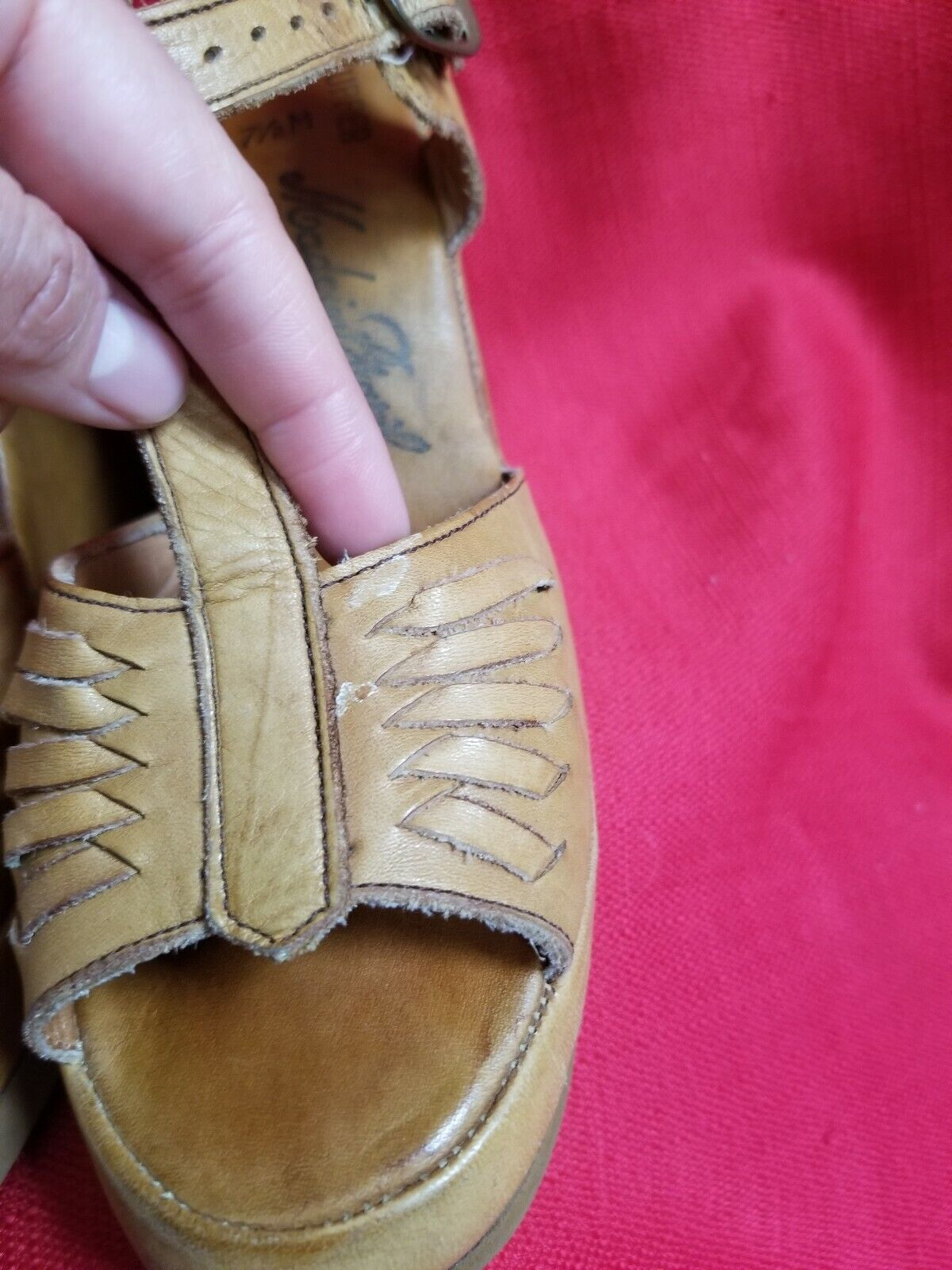 Vtg 1970s does 40s Leather Wedge Sandals Size 7.5… - image 6