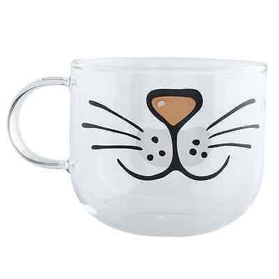 Cute Cat Kitty Borosilicate Glass Coffee Cup Transparent Water Juice Mug 550ML