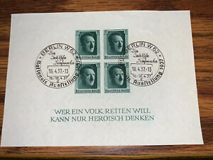 Germany-HitlerThird-Reich-1937-Sc-B103-Used-MLH-Imperf-Berlin-Cancel