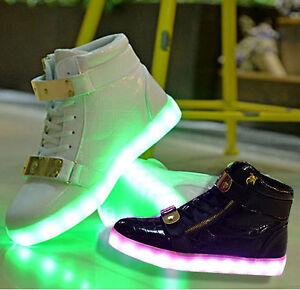Kinder LED Leuchtende Schuhe Mädchen Jungen USB Sneakers Klettband BlinkschuheZY