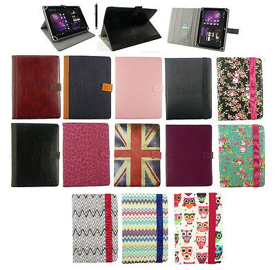 """New Universal Multi Angle Wallet Case Cover for 7-8"""" inch Tablet +Stylus"""
