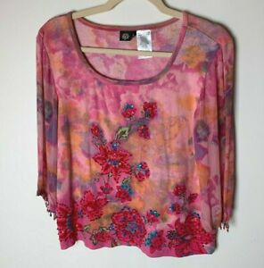 Bila Women's Top Size Large Floral Beaded Sequins Casual 3/4 Semi-Sheer Sleeves